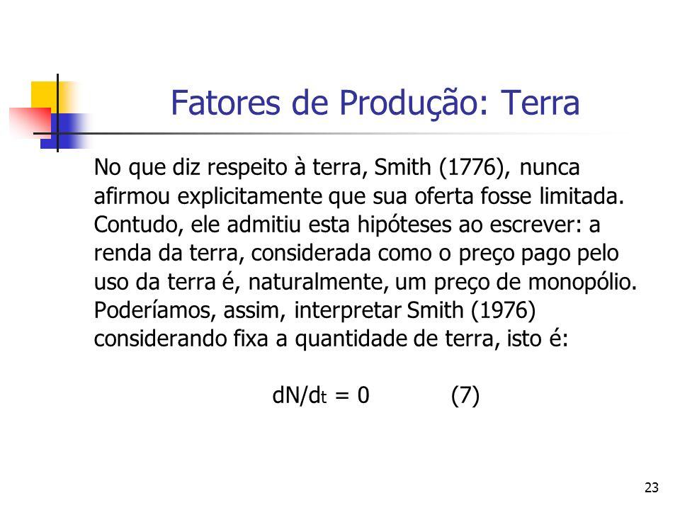 22 As Mudanças Institucionais [dU/dt] Smith (1776) considerava que (dU/dt) era determinado exogenamente, isto é, achava que seu percurso no tempo pode