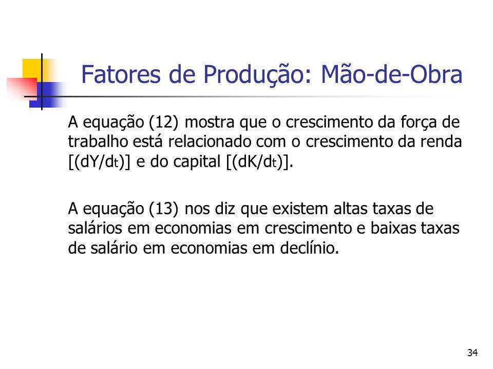 33 Fatores de Produção: Mão-de-Obra Juntando (9), (10) e (11), podemos resumir a teoria do mercado de trabalho de Smith (1776) nas duas seguintes prop
