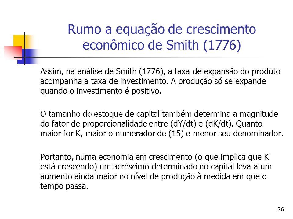 35 Rumo à equação de crescimento econômico de Smith (1776) Substituindo a equação (12) na equação (8) obtemos a equação (14): dY/dt = / K(dk/d t ) + g
