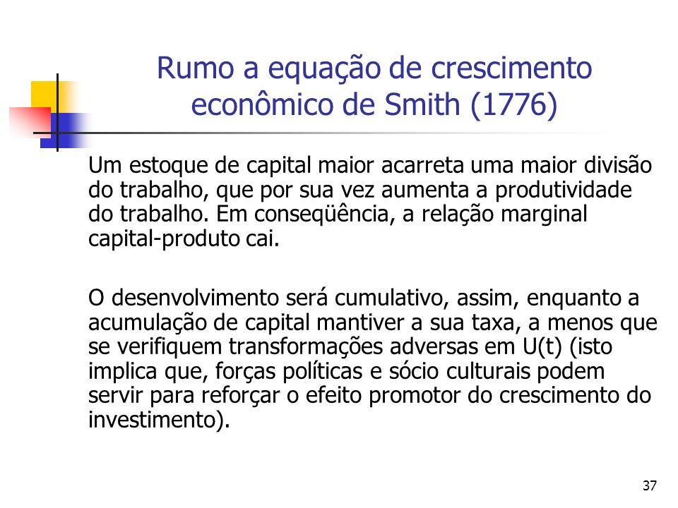 36 Rumo a equação de crescimento econômico de Smith (1776) Assim, na análise de Smith (1776), a taxa de expansão do produto acompanha a taxa de invest