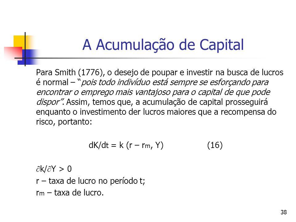37 Rumo a equação de crescimento econômico de Smith (1776) Um estoque de capital maior acarreta uma maior divisão do trabalho, que por sua vez aumenta