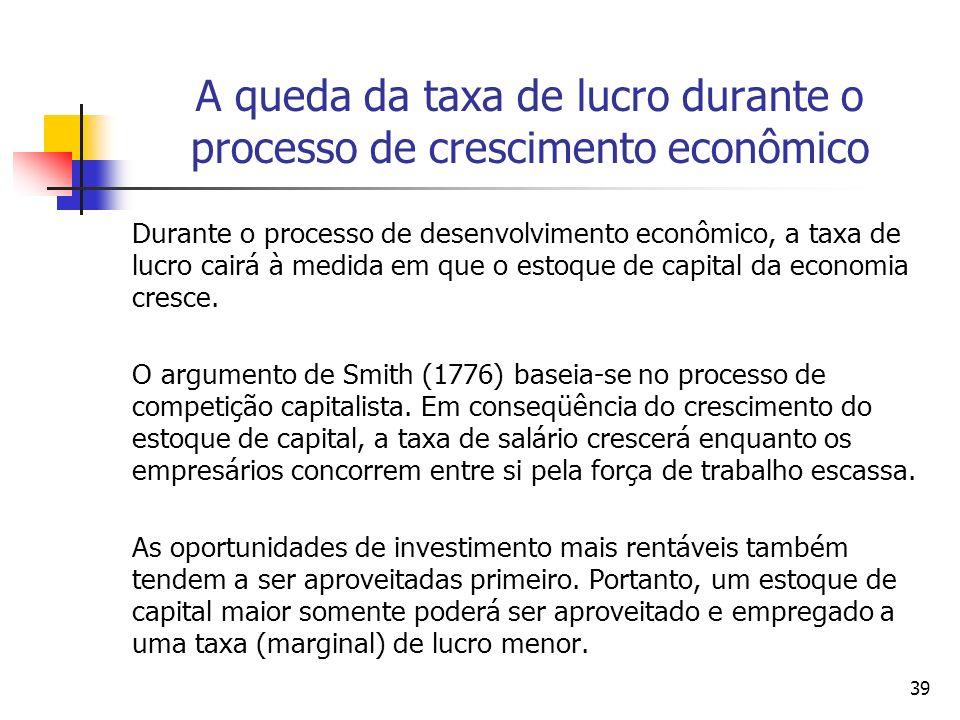 38 A Acumulação de Capital Para Smith (1776), o desejo de poupar e investir na busca de lucros é normal – pois todo indivíduo está sempre se esforçand