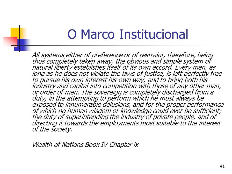 40 O marco institucional e a sua influência na taxa de lucro O marco institucional é outra influência importante sobre a taxa de lucro – o grau de reg