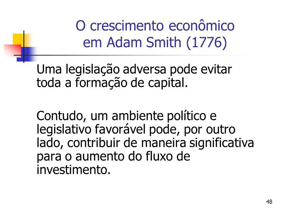 47 O crescimento econômico em Adam Smith (1776) A taxa de formação de capital depende essencialmente da relação entre a taxa de lucro líquido do merca