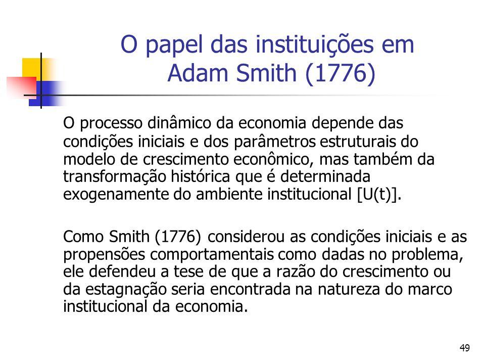 48 O crescimento econômico em Adam Smith (1776) Uma legislação adversa pode evitar toda a formação de capital. Contudo, um ambiente político e legisla