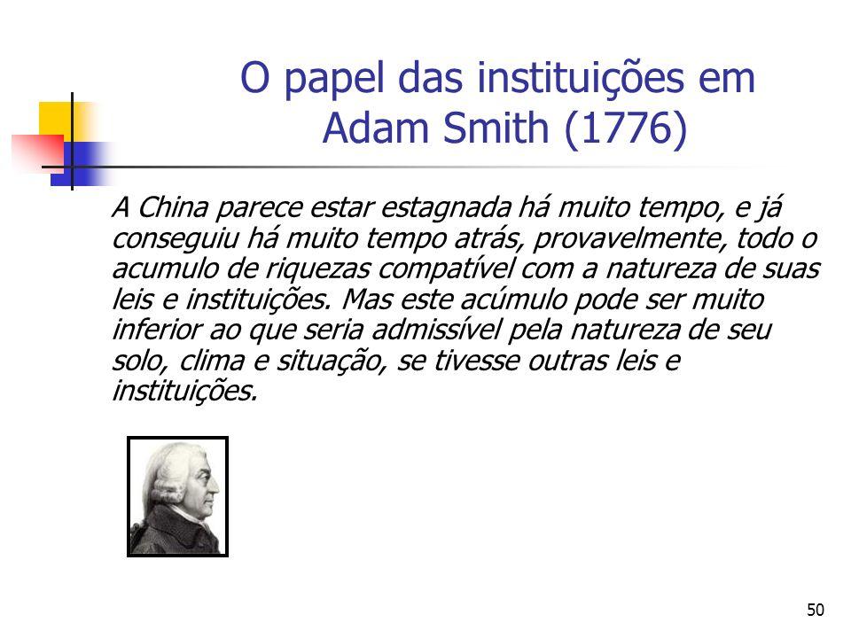 49 O papel das instituições em Adam Smith (1776) O processo dinâmico da economia depende das condições iniciais e dos parâmetros estruturais do modelo