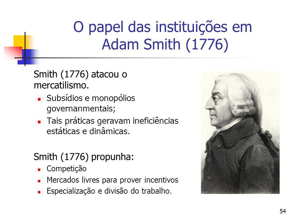 53 O papel das instituições em Adam Smith (1776) Segundo Aldeman (1972, p.40), a resposta de Smith (1776) ao problema do desenvolvimento econômico são