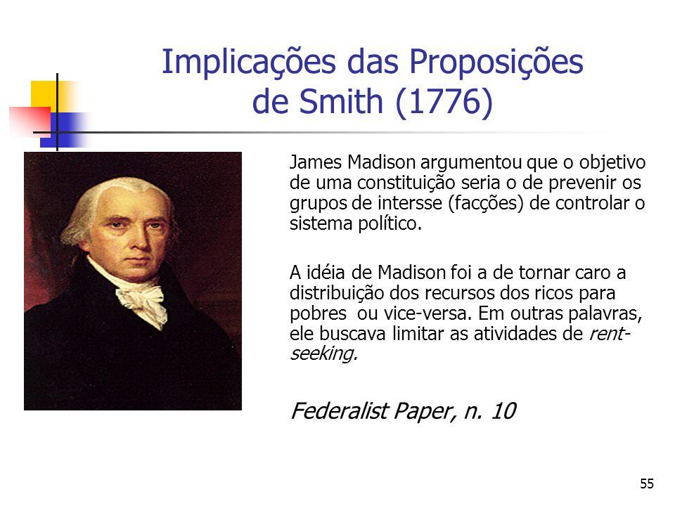 54 O papel das instituições em Adam Smith (1776) Smith (1776) atacou o mercatilismo. Subsídios e monopólios governanmentais; Tais práticas geravam ine