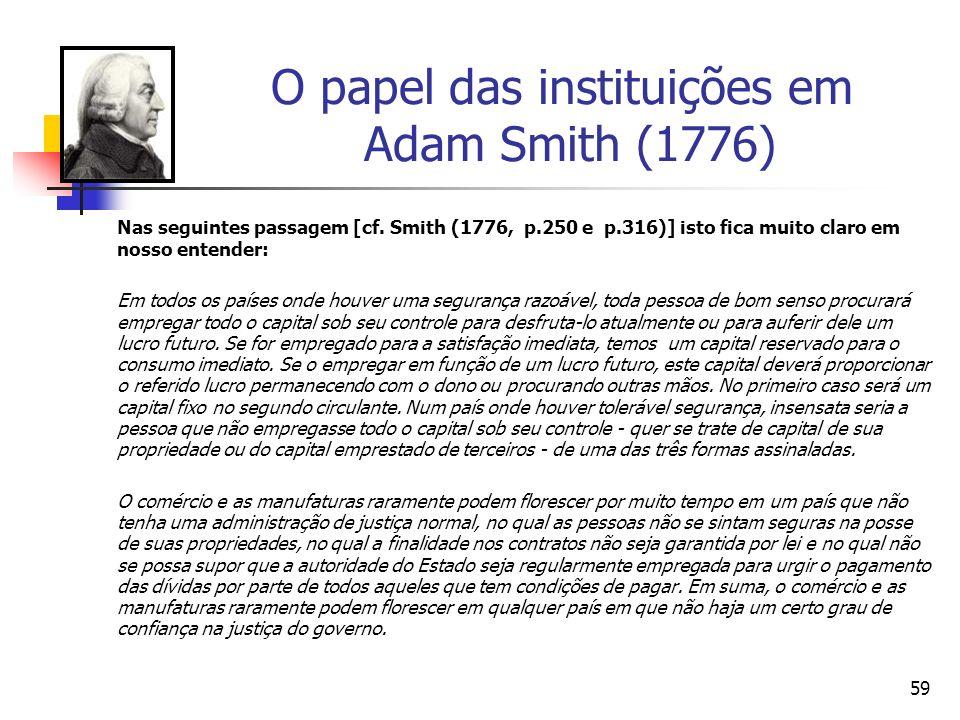 58 O papel das instituições em Adam Smith (1776) Outro autor que também compartilha deste visão é Hetzel (1977, p.5) quando salienta que : The princip
