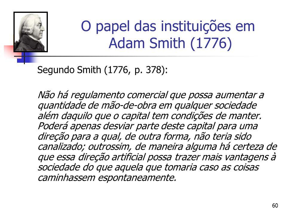 59 O papel das instituições em Adam Smith (1776) Nas seguintes passagem [cf. Smith (1776, p.250 e p.316)] isto fica muito claro em nosso entender: Em