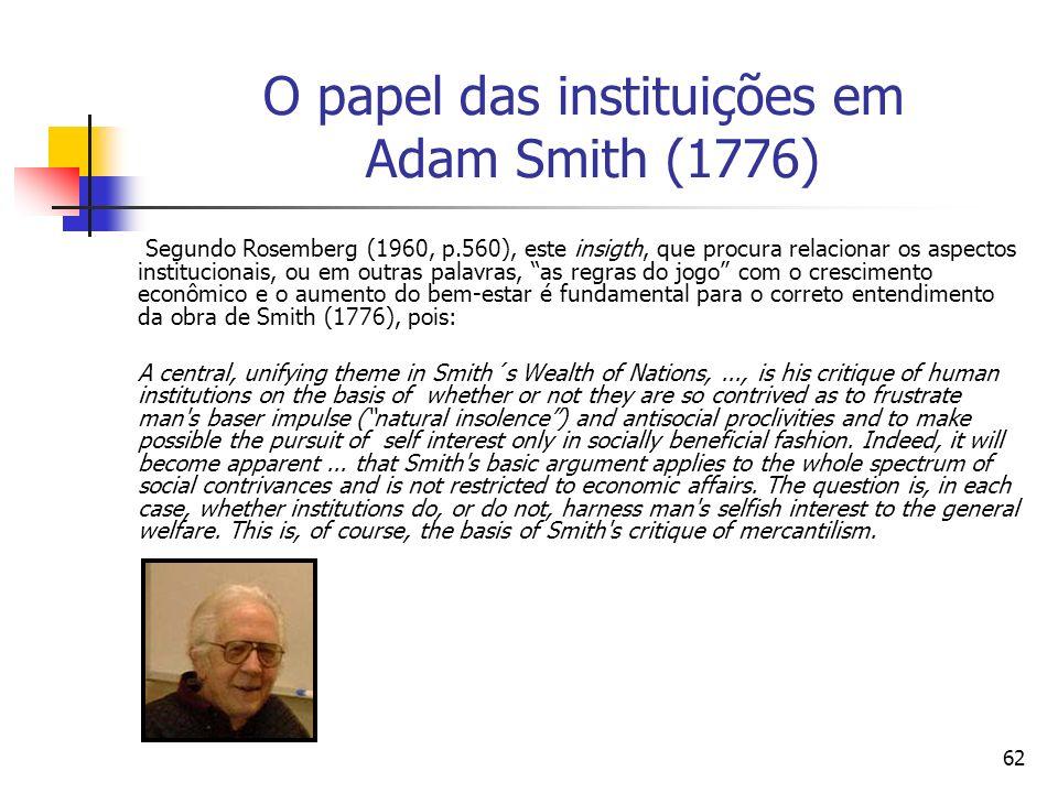 61 O papel das instituições em Adam Smith (1776) Para Smith (1776) a principal causa do crescimento econômico é a especialização e a divisão do trabal