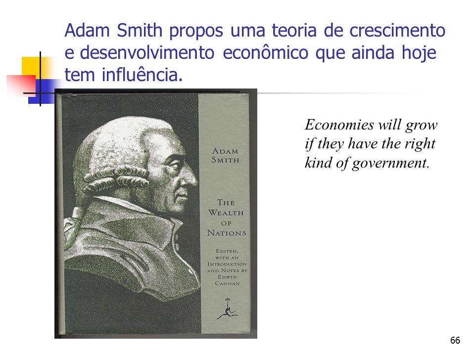 65 Aumento da Produtividade Grande Produto Aumento da Acumulação de Capital Divisão do Trabalho Grande riqueza de uma nação Altos Níveis de Consumo Au