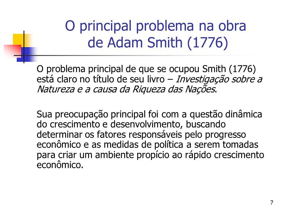 7 O principal problema na obra de Adam Smith (1776) O problema principal de que se ocupou Smith (1776) está claro no título de seu livro – Investigação sobre a Natureza e a causa da Riqueza das Nações.