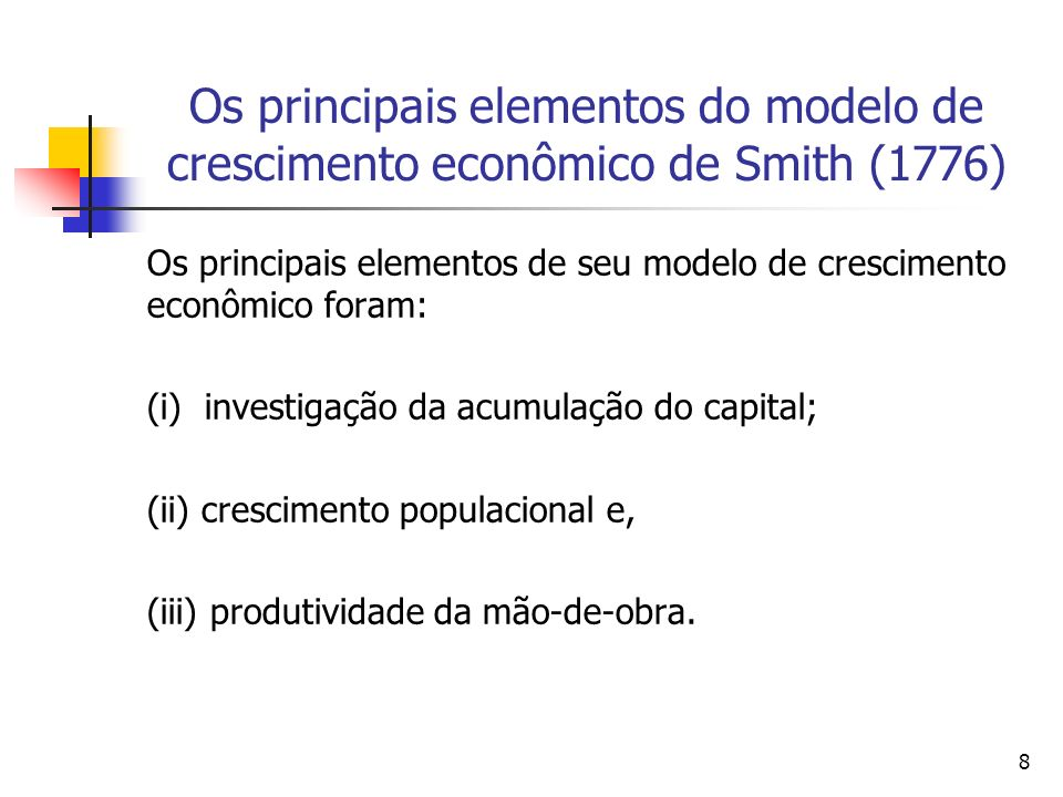 58 O papel das instituições em Adam Smith (1776) Outro autor que também compartilha deste visão é Hetzel (1977, p.5) quando salienta que : The principal theme set fourth in the Wealth of Nations is that a country most effectively promotes its own wealth by providing a framework of laws that leaves individuals free to pursue the interest they have in their own economic betterment.