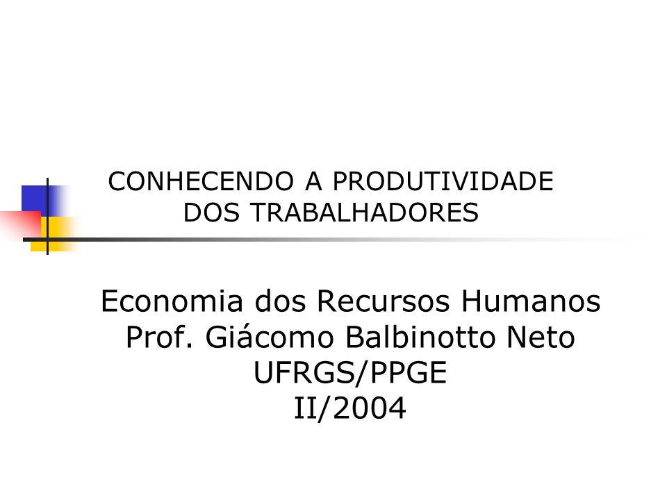 CONHECENDO A PRODUTIVIDADE DOS TRABALHADORES Economia dos Recursos Humanos Prof. Giácomo Balbinotto Neto UFRGS/PPGE II/2004