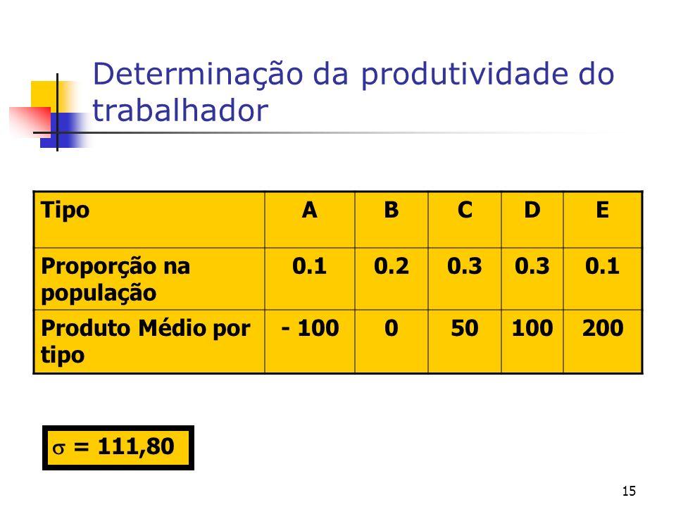 15 Determinação da produtividade do trabalhador TipoABCDE Proporção na população 0.10.20.3 0.1 Produto Médio por tipo - 100050100200 = 111,80