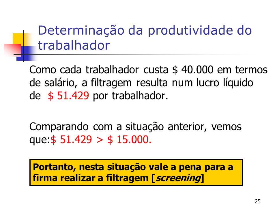 25 Determinação da produtividade do trabalhador Como cada trabalhador custa $ 40.000 em termos de salário, a filtragem resulta num lucro líquido de $