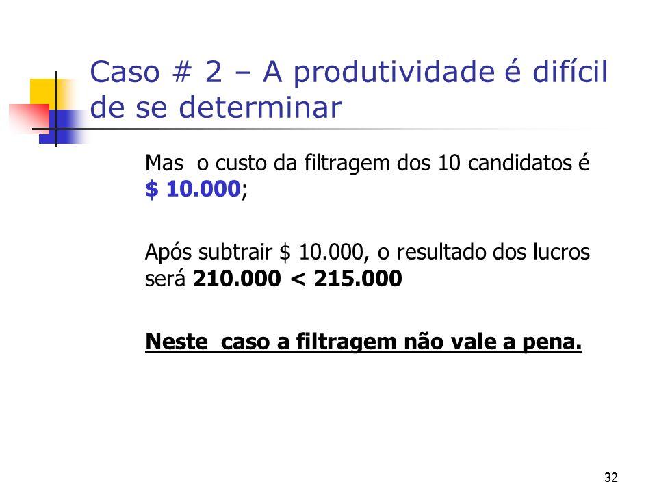 32 Caso # 2 – A produtividade é difícil de se determinar Mas o custo da filtragem dos 10 candidatos é $ 10.000; Após subtrair $ 10.000, o resultado do