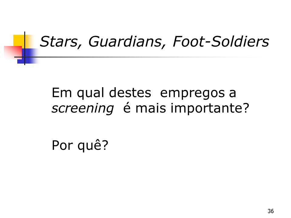 36 Stars, Guardians, Foot-Soldiers Em qual destes empregos a screening é mais importante? Por quê?