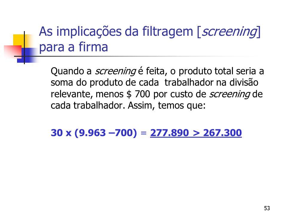 53 As implicações da filtragem [screening] para a firma Quando a screening é feita, o produto total seria a soma do produto de cada trabalhador na div