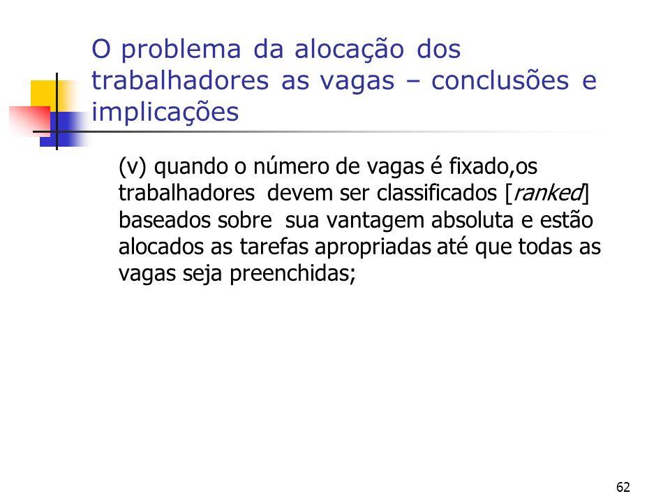 62 O problema da alocação dos trabalhadores as vagas – conclusões e implicações (v) quando o número de vagas é fixado,os trabalhadores devem ser class