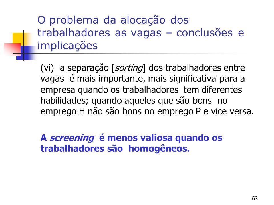63 O problema da alocação dos trabalhadores as vagas – conclusões e implicações (vi) a separação [sorting] dos trabalhadores entre vagas é mais import