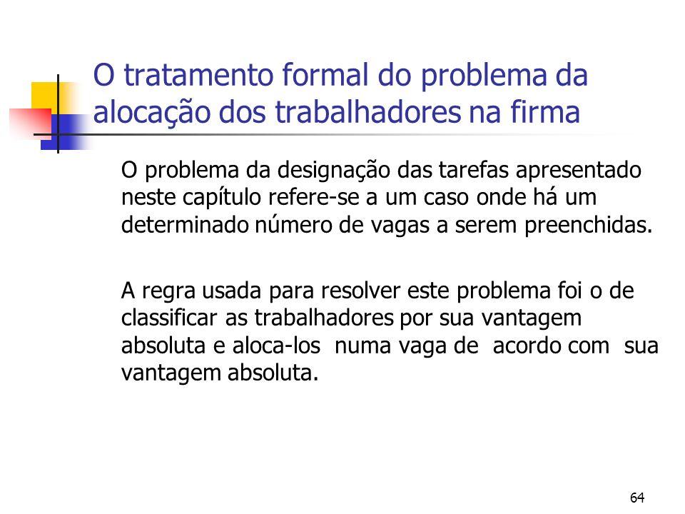64 O tratamento formal do problema da alocação dos trabalhadores na firma O problema da designação das tarefas apresentado neste capítulo refere-se a