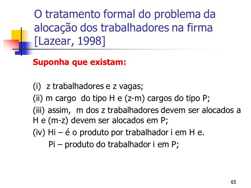 65 O tratamento formal do problema da alocação dos trabalhadores na firma [Lazear, 1998] Suponha que existam: (i) z trabalhadores e z vagas; (ii) m cargo do tipo H e (z-m) cargos do tipo P; (iii) assim, m dos z trabalhadores devem ser alocados a H e (m-z) devem ser alocados em P; (iv) Hi – é o produto por trabalhador i em H e.