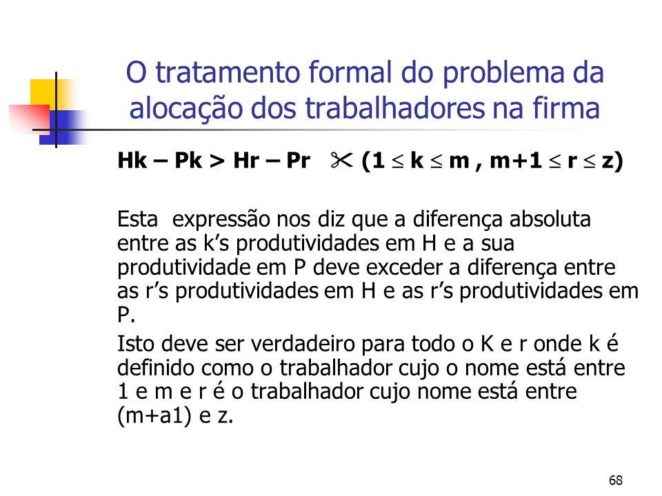 68 O tratamento formal do problema da alocação dos trabalhadores na firma Hk – Pk > Hr – Pr (1 k m, m+1 r z) Esta expressão nos diz que a diferença absoluta entre as ks produtividades em H e a sua produtividade em P deve exceder a diferença entre as rs produtividades em H e as rs produtividades em P.