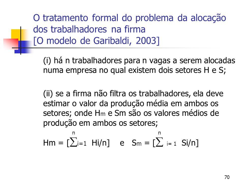 70 O tratamento formal do problema da alocação dos trabalhadores na firma [O modelo de Garibaldi, 2003] (i) há n trabalhadores para n vagas a serem alocadas numa empresa no qual existem dois setores H e S; (ii) se a firma não filtra os trabalhadores, ela deve estimar o valor da produção média em ambos os setores; onde H m e Sm são os valores médios de produção em ambos os setores; n n Hm = [ i=1 Hi/n] e S m = [ i= 1 Si/n]