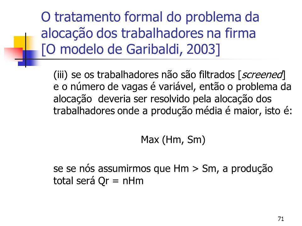 71 O tratamento formal do problema da alocação dos trabalhadores na firma [O modelo de Garibaldi, 2003] (iii) se os trabalhadores não são filtrados [screened] e o número de vagas é variável, então o problema da alocação deveria ser resolvido pela alocação dos trabalhadores onde a produção média é maior, isto é: Max (Hm, Sm) se se nós assumirmos que Hm > Sm, a produção total será Qr = nHm