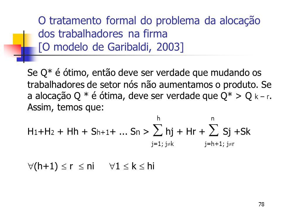 78 O tratamento formal do problema da alocação dos trabalhadores na firma [O modelo de Garibaldi, 2003] Se Q* é ótimo, então deve ser verdade que muda