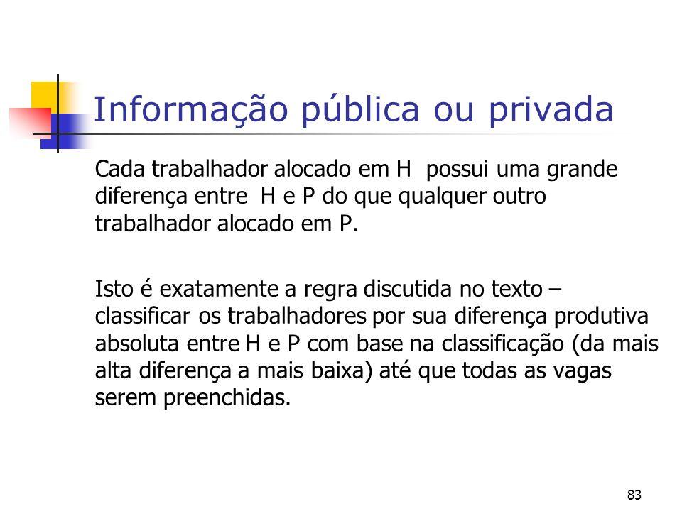 83 Informação pública ou privada Cada trabalhador alocado em H possui uma grande diferença entre H e P do que qualquer outro trabalhador alocado em P.