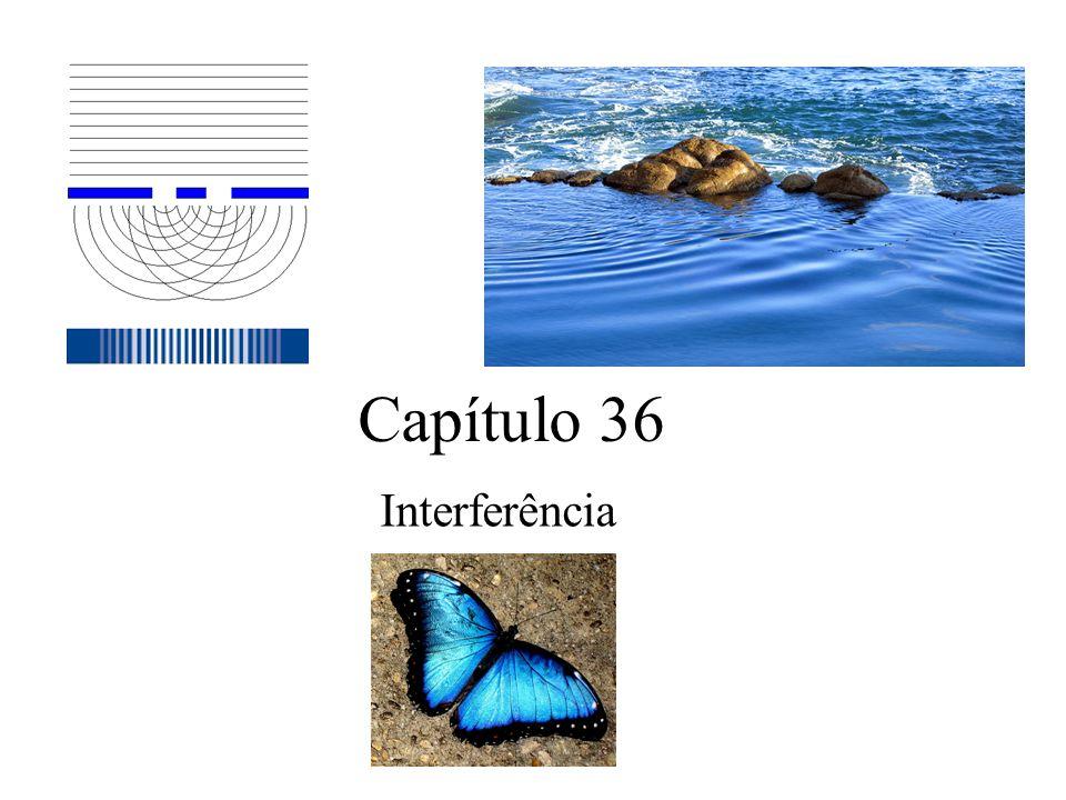 Equações para a interferência em filmes finos Em fase: 2L=(número impar/2) ( /n 2 ) E fora: 2L=(número inteiro) ( /n 2 ) (max-claro) (min-escuro) ATENÇÃO: Ainda supondo que n 2 > n 3 e n 2 > n 1.