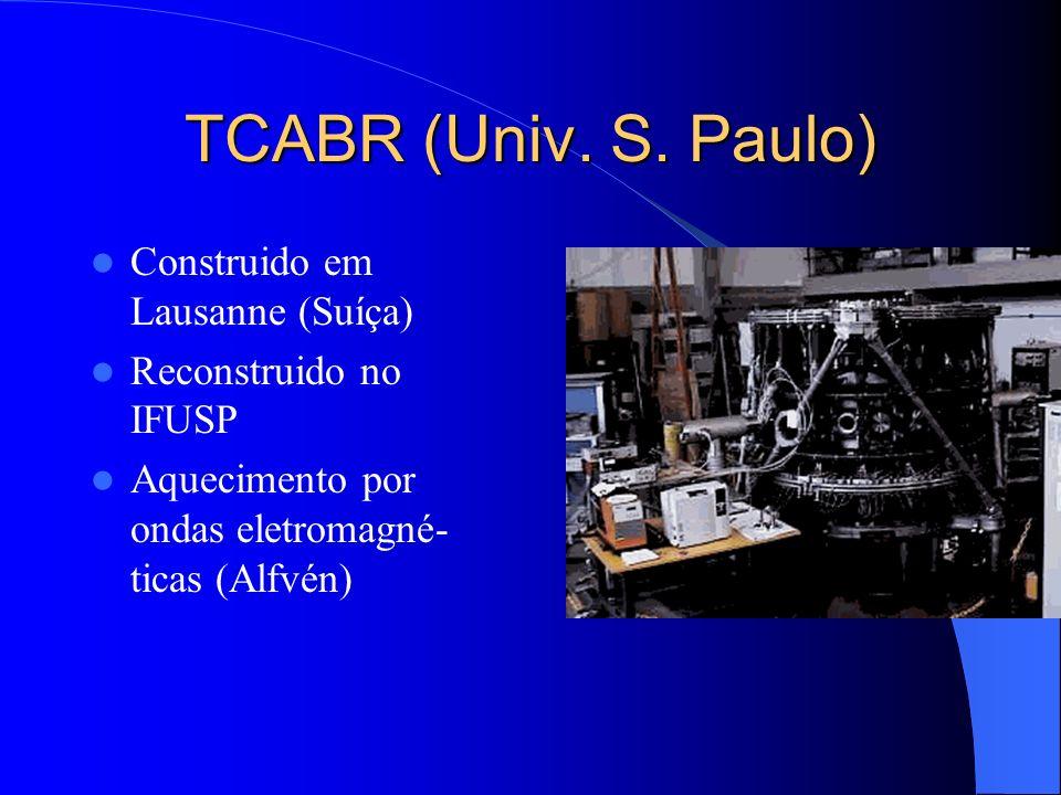 TCABR (Univ. S. Paulo) Construido em Lausanne (Suíça) Reconstruido no IFUSP Aquecimento por ondas eletromagné- ticas (Alfvén)