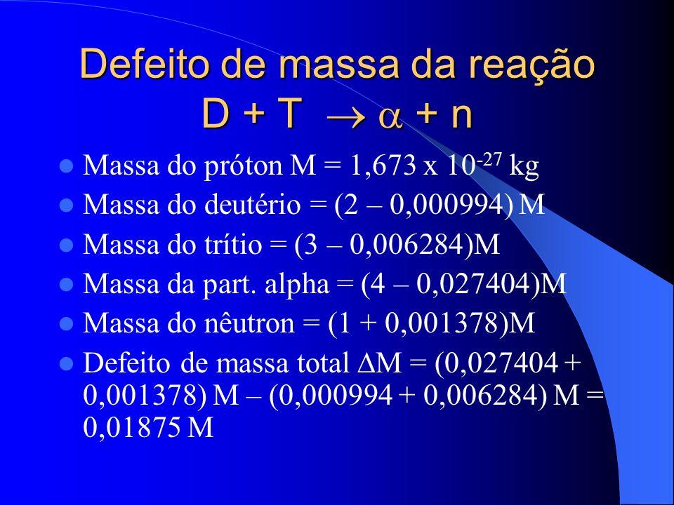 Energia liberada na fusão nuclear E = M c 2 = 0,01875 M c 2 E = 2,818 x 10 -12 J = 17,59 MeV 3,5 MeV = energia cinética da partícula alfa 14,1 MeV = energia cinética do nêutron Em termos macroscópicos: 1 kg de deutério+trítio = 10 2 kWh de energia Equivale a um dia de operação de uma usina hidrelétrica de 1 GW Comparação: Usina de Itaipú = 12,6 GW