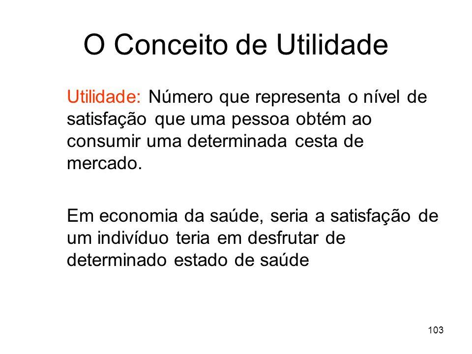 103 O Conceito de Utilidade Utilidade: Número que representa o nível de satisfação que uma pessoa obtém ao consumir uma determinada cesta de mercado.