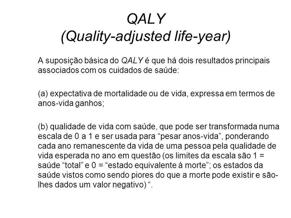 QALY (Quality-adjusted life-year) A suposição básica do QALY é que há dois resultados principais associados com os cuidados de saúde: (a) expectativa