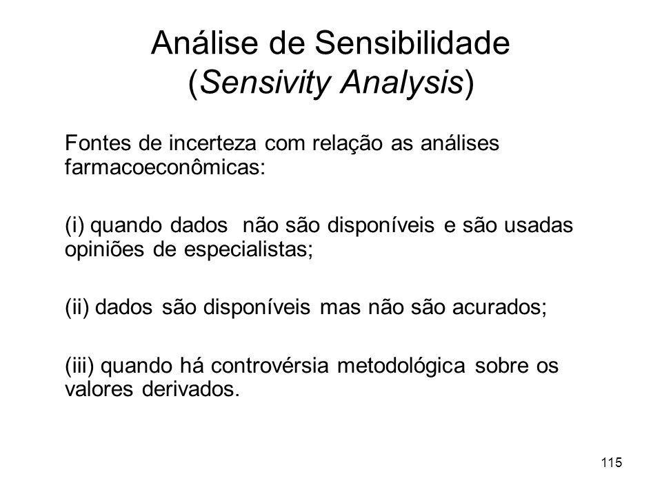 115 Análise de Sensibilidade (Sensivity Analysis) Fontes de incerteza com relação as análises farmacoeconômicas: (i) quando dados não são disponíveis
