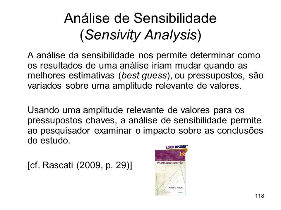 118 Análise de Sensibilidade (Sensivity Analysis) A análise da sensibilidade nos permite determinar como os resultados de uma análise iriam mudar quan