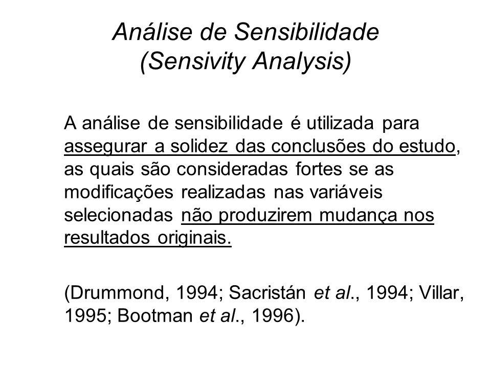Análise de Sensibilidade (Sensivity Analysis) A análise de sensibilidade é utilizada para assegurar a solidez das conclusões do estudo, as quais são c