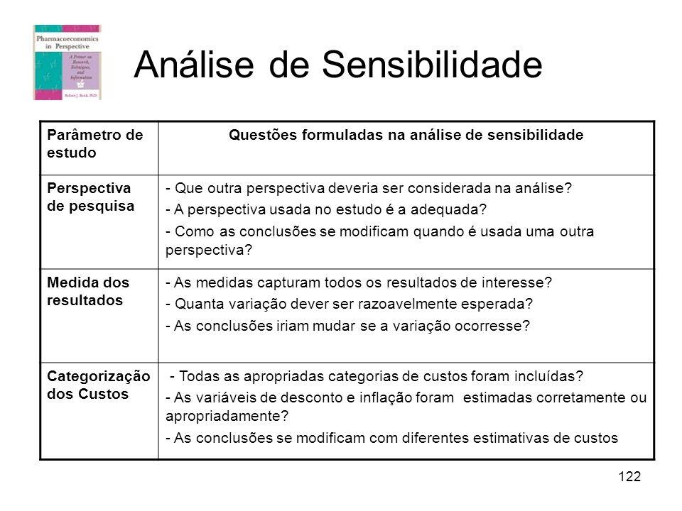 122 Análise de Sensibilidade Parâmetro de estudo Questões formuladas na análise de sensibilidade Perspectiva de pesquisa - Que outra perspectiva dever