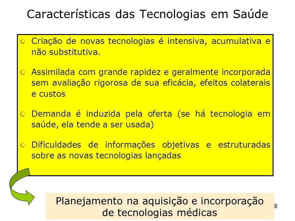 19 Características das Tecnologias em Saúde Criação de novas tecnologias é intensiva, acumulativa e não substitutiva. Assimilada com grande rapidez e