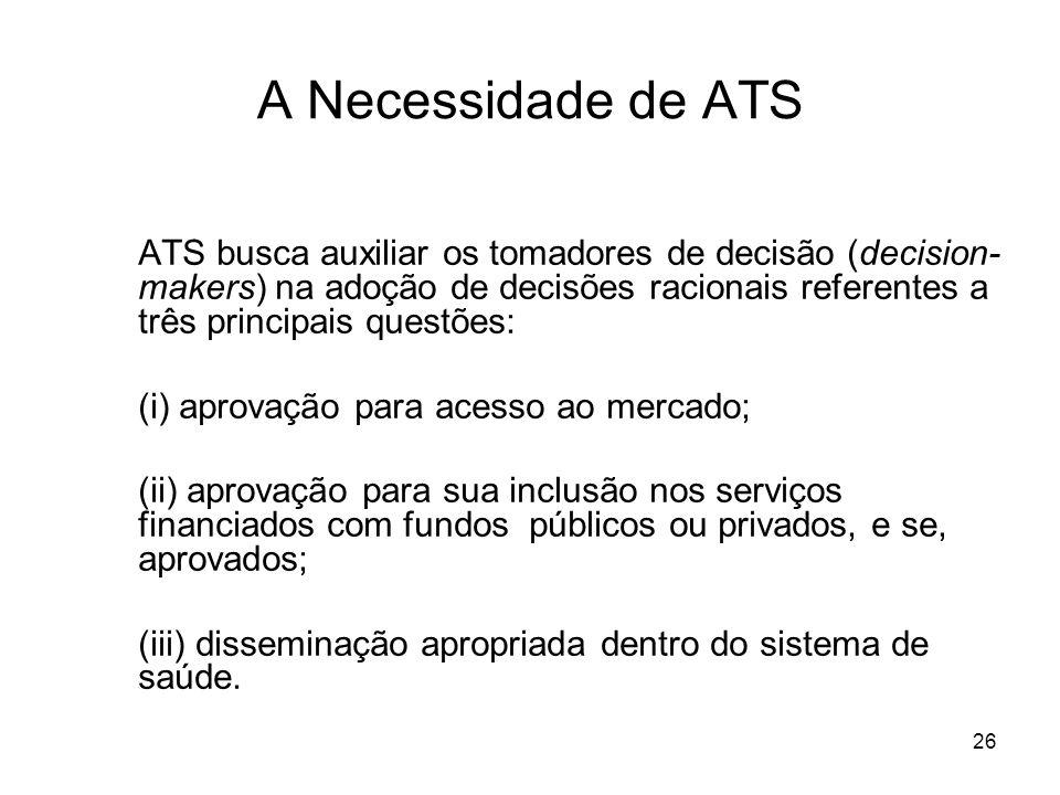 26 A Necessidade de ATS ATS busca auxiliar os tomadores de decisão (decision- makers) na adoção de decisões racionais referentes a três principais que