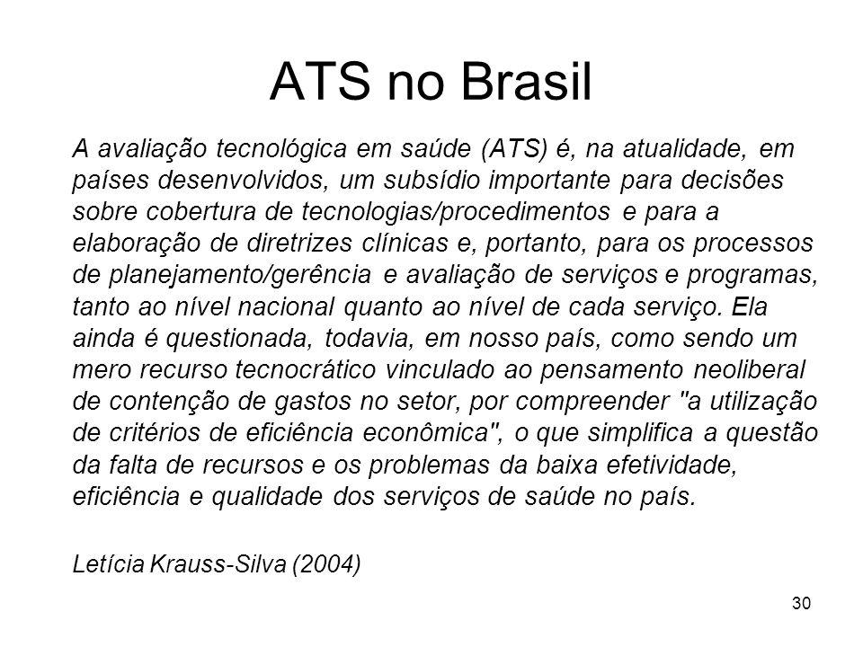 30 ATS no Brasil A avaliação tecnológica em saúde (ATS) é, na atualidade, em países desenvolvidos, um subsídio importante para decisões sobre cobertur