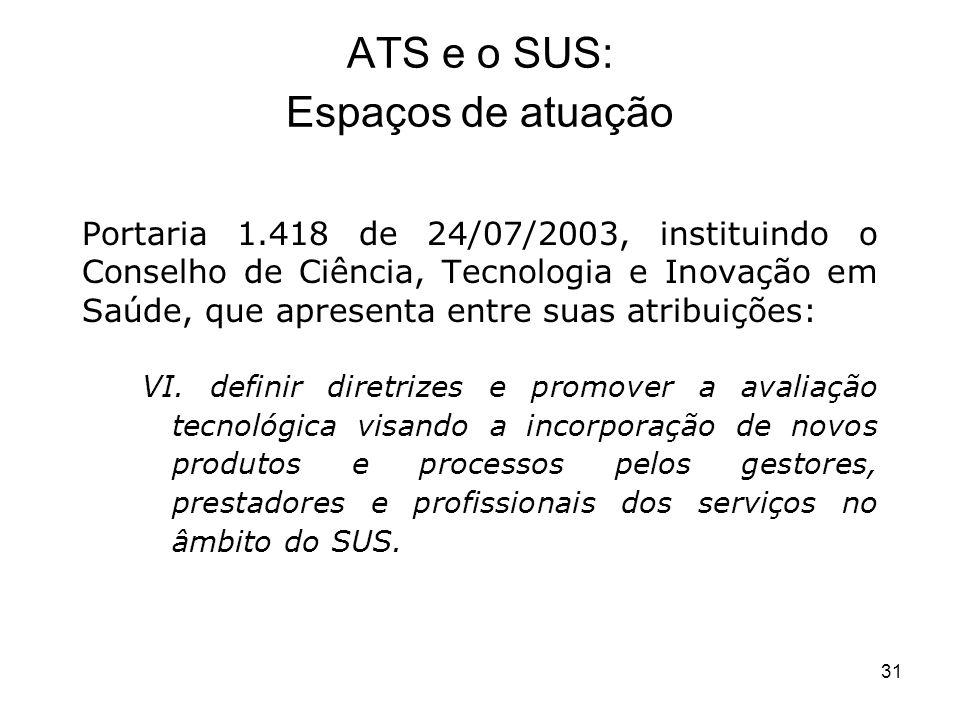 31 Portaria 1.418 de 24/07/2003, instituindo o Conselho de Ciência, Tecnologia e Inovação em Saúde, que apresenta entre suas atribuições: VI. definir