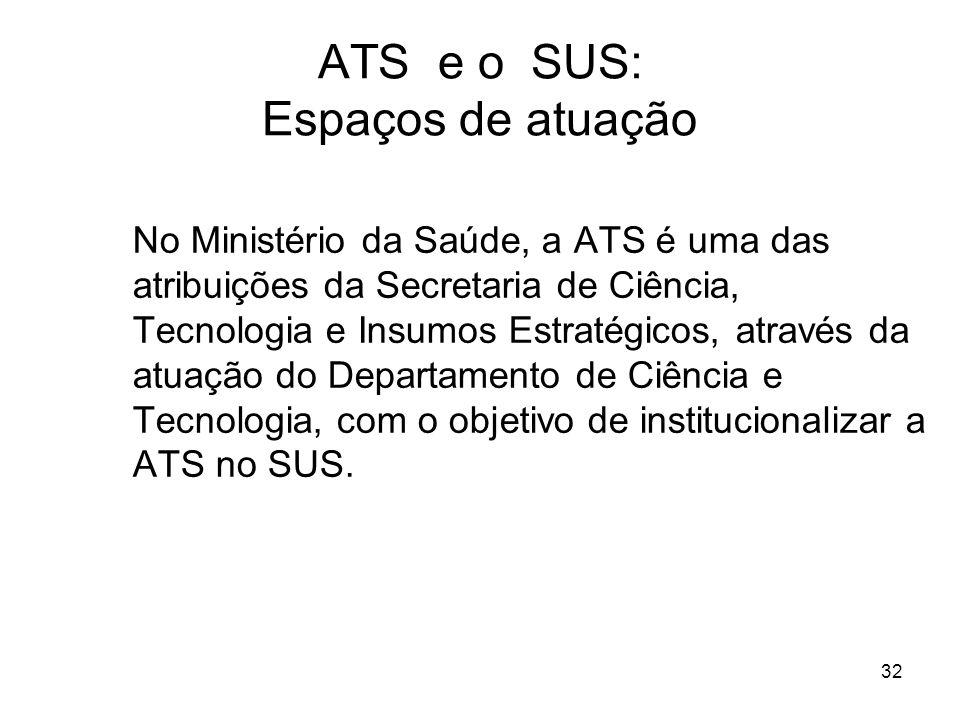 32 ATS e o SUS: Espaços de atuação No Ministério da Saúde, a ATS é uma das atribuições da Secretaria de Ciência, Tecnologia e Insumos Estratégicos, at