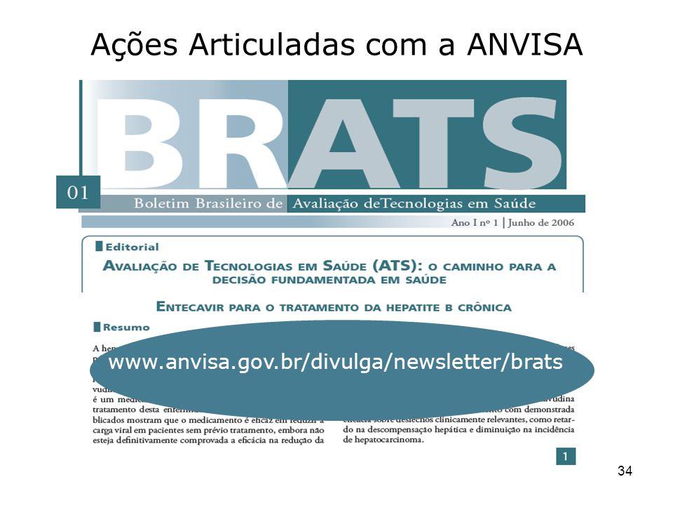 34 Ações Articuladas com a ANVISA www.anvisa.gov.br/divulga/newsletter/brats