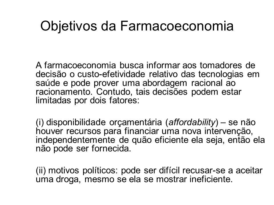 Objetivos da Farmacoeconomia A farmacoeconomia busca informar aos tomadores de decisão o custo-efetividade relativo das tecnologias em saúde e pode pr
