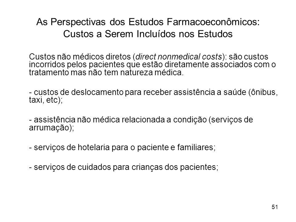 51 As Perspectivas dos Estudos Farmacoeconômicos: Custos a Serem Incluídos nos Estudos Custos não médicos diretos (direct nonmedical costs): são custo